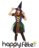 Robe colorée de petite sorcière pour enfant