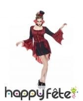 Robe corset de vampiresse rouge à queue de pie