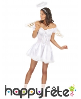 Robe courte d'ange blanche adulte