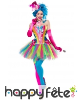 Robe corset et tutu multicolores de clown