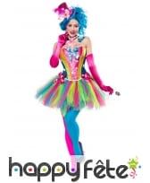 Robe corset et tutu multicolores de clown
