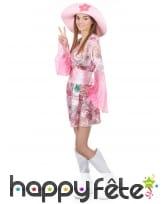Robe courte hippie à motifs rose avec chapeau, image 1