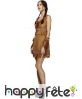 Robe courte marron unie d'indienne pour femme, image 2