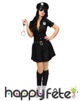 Robe courte noire de policière pour adulte