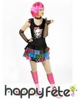 Robe courte noire et colorée de femme Punk
