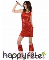 Robe courte Rouge disco recouverte de Sequins