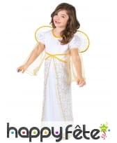 Robe d'ange blanche et dorée pour fillette