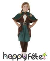 Robe d'archer marron et vert avec capeline, fille, image 1