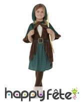 Robe d'archer marron et vert avec capeline, fille