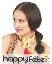 Ras de cou indien perles plumes colorées, image 1