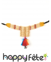 Ras de cou indien perles plumes colorées