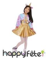 Robe de chat licorne doré et multicolore, fille