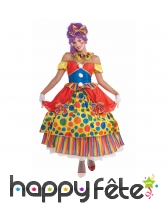 Robe de clown multicolore à pois
