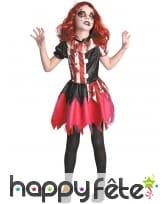 Robe de clown tueur noir et rouge pour fille