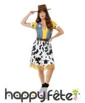 Robe de cowgirl jaune imprimé vache pour femme, image 1