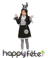 Robe du chapelier fou pour enfant, noir et blanc, image 1