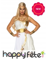 Robe de déesse grecque blanche et or pour adulte, image 2