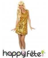 Robe disco dorée unie pour femme