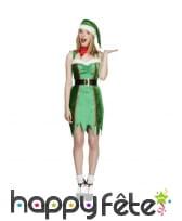 Robe d'elfe sexy avec bonnet vert