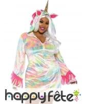 Robe de licorne multicolore grande taille