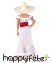 Robe de Mexicaine pour enfant, blanche et rouge, image 2