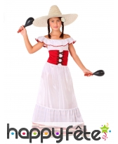 Robe de Mexicaine pour enfant, blanche et rouge