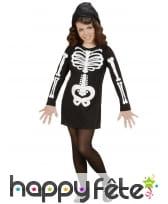 Robe de petit squelette noir avec capuche
