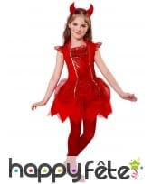 Robe de petite diablesse rouge avec cornes
