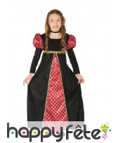 Robe de petite fille médiévale rouge et noire