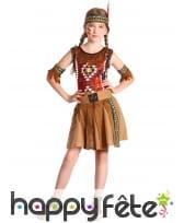 Robe de petite indienne marron avec franges