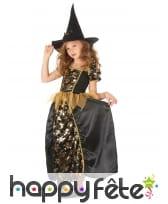 Robe de petite sorcière noir tête de mort dorées, image 1