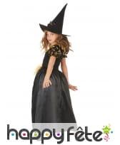 Robe de petite sorcière noir tête de mort dorées, image 2