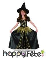 Robe de petite sorcière noir tête de mort dorées, image 3