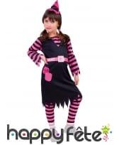 Robe de petite sorcière rose et noire avec chapeau