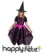 Robe de petite sorcière rose et noire avec toile