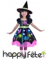 Robe de petite sorcière toiles colorées et chapeau