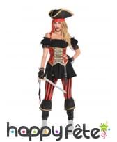 Robe de pirate noir et rouge à corset pour femme