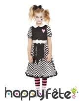 Robe de poupée brisée pour fille, noir et blanc