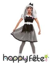 Robe de poupée vaudou à damier noir et blanc, image 1