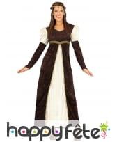 Robe de princesse Moyenâgeuse blanche et marron
