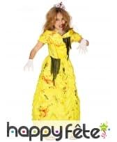 Robe de princesse zombie pour enfant, jaune