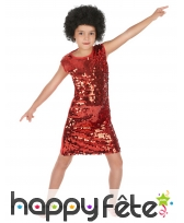 Robe disco rouge à paillettes pour enfant