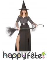 Robe de sorcière argentée échancrée pour femme