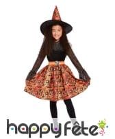 Robe de sorcière avec dentelle noire orange, fille, image 1