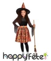 Robe de sorcière avec dentelle noire orange, fille
