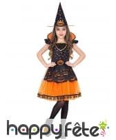 Robe de sorcière citrouille enfant avec chapeau, image 1