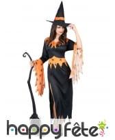 Robe de sorcière noire et orange motifs araignées