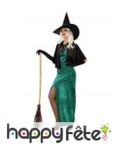Robe de sorcière verte et échancrée pour femme