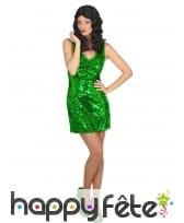 Robe disco verte unie pour femme