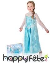 Robe Elsa Reine des neiges pour enfant en coffret